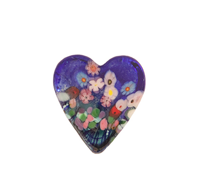 ROBERT HELD - SMALL WILDFLOWER HEART, BLUE - GLASS