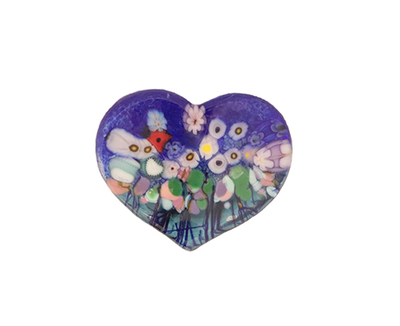 ROBERT HELD - LARGE WILDFLOWER HEART, BLUE - GLASS