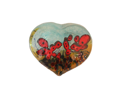 ROBERT HELD - LARGE CALIFORNIA POPPY HEART - GLASS