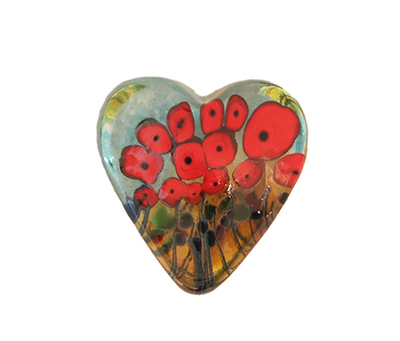 ROBERT HELD - SMALL CALIFORNIA POPPY HEART - GLASS
