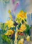 PETE ROBERTS - YELLOW ROSES - WATERCOLOR - 10.5 x 14.5