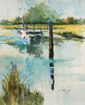 PETE ROBERTS - DOCKED BOAT - WATERCOLOR - 12 X 15