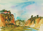 PETE ROBERTS - BACK BAY CLIFFS - WATERCOLOR - 11 x 8
