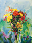 PETE ROBERTS - BRIGHT BOUQUET - WATERCOLOR - 11 X 15