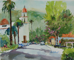 PETE ROBERTS - DOWNTOWN SAN JUAN CAPISTRANO - WATERCOLOR - 12.5 X 9
