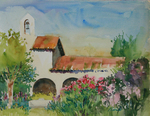PETE ROBERTS - MISSION FLOWERS - WATERCOLOR - 13.25 X 10.25