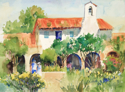 PETE ROBERTS - BELL TOWER - WATERCOLOR - 14.5 x 11