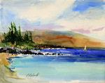 PETE ROBERTS - WINDSWEPT BAY - WATERCOLOR - 15 x 11.5