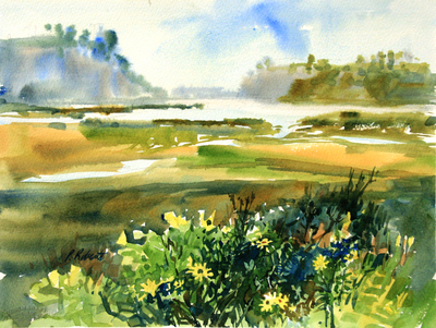 PETE ROBERTS - BAY MIST - WATERCOLOR - 14 x 10.5