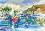PETE ROBERTS - HARBOR SAIL - WATERCOLOR - 14 X 11