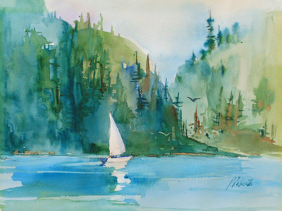 PETE ROBERTS - GLIDING - WATERCOLOR - 15 X 11