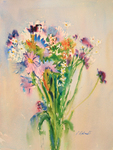 PETE ROBERTS - PINK & PURPLE FLORAL BOUQUET - WATERCOLOR - 11.125 X 15