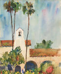 PETE ROBERTS - PALMS AT THE MISSION - WATERCOLOR - 11.25 X 14.25