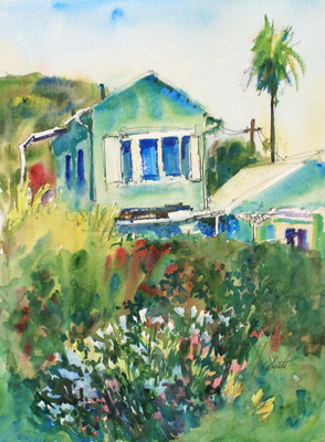 PETE ROBERTS - MONTEREY & ASTOR, LAGUNA BEACH - WATERCOLOR - 10.25 X 13.25