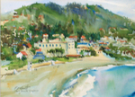 PETE ROBERTS - MAIN BEACH, LAGUNA - WATERCOLOR - 13.5 X 10.5