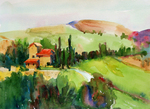 PETE ROBERTS - IL COLOMBAIO WINERY, MONTALCINO, ITALY - WATERCOLOR - 14 X 10