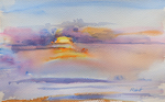 PETE ROBERTS - SUNSET - WATERCOLOR - 15 X 9.25