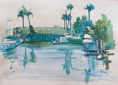 PETE ROBERTS - DANA POINT HARBOR - WATERCOLOR - 15 X 11