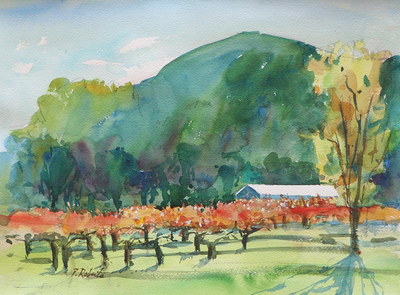 PETE ROBERTS - AUTMUN VINEYARD - WATERCOLOR - 15 X 10.75