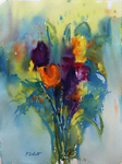 PETE ROBERTS - SPRING FLOWERS - WATERCOLOR - 11 X 15