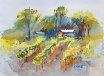 PETE ROBERTS - VINCENT VINYARDS - WATERCOLOR - 14 X 10.5