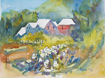 PETE ROBERTS - COASTAL COTTAGES - WATERCOLOR - 14 X 10.5