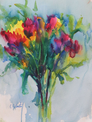 PETE ROBERTS - SPRING FLOWERS - WATERCOLOR - 15 X 11