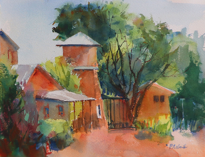 PETE ROBERTS - SIDE STREET LOS OLIVOS, CA - WATERCOLOR - 11 X 15