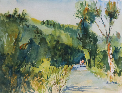 PETE ROBERTS - AFTERNOON WALK - WATERCOLOR - 11 X 15