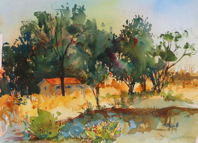 PETE ROBERTS - SUNSET - WATERCOLOR - 11 X 15