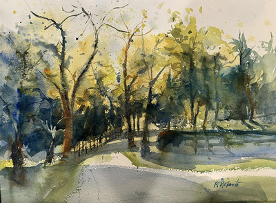 PETE ROBERTS - AFTERNOON IN THE PARK - WATERCOLOR - 14 X 10