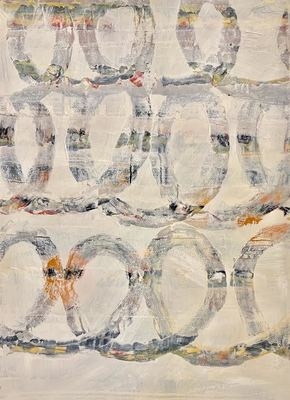 GREGORY SABIN - WHITE ABSTRACT WITH SPIRALS - MIXED MEDIA ON PAPER - 22 X 30