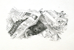 S.D. SCHINDLER - BEAR IN NEWSPAPER - PEN & INK - 7 X 4