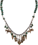 JANET SEWARD - JADE AND MAYAN CHARMS NECKLACE - SILVER & GEMSTONES