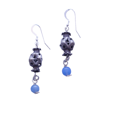 JANET SEWARD - SILVER & CHALCEDONY BEAD EARRINGS - SILVER & BEADS