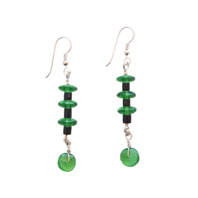 JANET SEWARD - GREEN GLASS TRADEBEAD EARRINGS - SILVER & BEADS