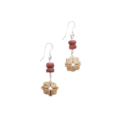 JANET SEWARD - CARVED SHELL & S.E. ASIAN CARNELIAN BEAD EARRINGS - SILVER & BEADS
