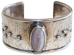 MONIQUE SELWITZ - ETCHED AGATE STERLING CUFF - STERLING & GEMSTONES