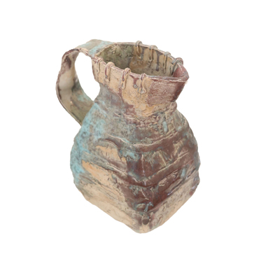 NAOMI SHACHAR - TEXTURED STRIPED EARTHWARE PITCHER - CERAMIC - 8 X 3 X 9