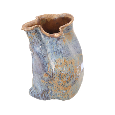 NAOMI SHACHAR - BLUE EARTHWARE VASE (LARGE) - CERAMIC - 8 X 6 X 10.5