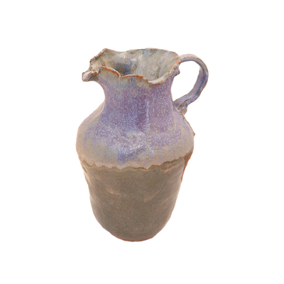 NAOMI SHACHAR - PURPLE & GREEN EARTHWARE PITCHER - CERAMIC - 7 X 8 X 11