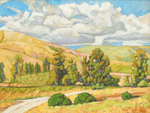 JOHN SAWYER - AUTUMN CLOUDS - OIL ON CANVAS - 14 X 11
