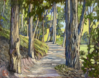 JOHN SAWYER - SERRANO CREEK SHADOWS - OIL ON CANVAS - 19.5 X 15.5