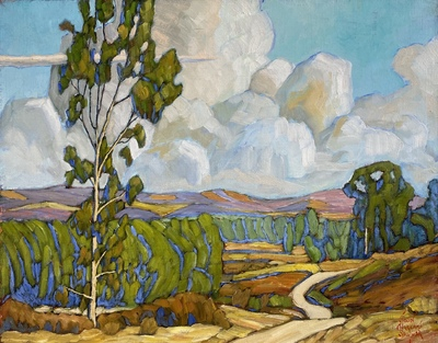JOHN SAWYER - EGRET TRAIL - OIL ON CANVAS - 19.5 X 15.5
