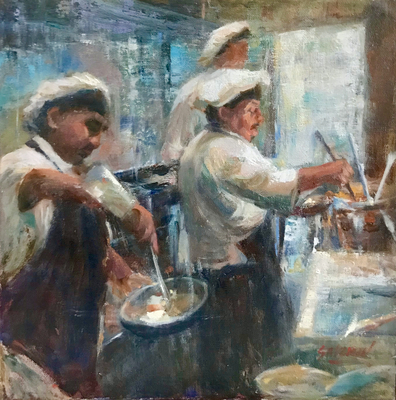 JANINE SALZMAN - CHEFS IN SYNC - MIXED MEDIA - 12 X 12