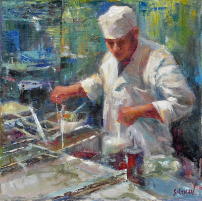 JANINE SALZMAN - LUNCH HOUR - MIXED MEDIA - 10 X 10