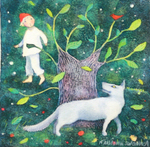 KRISTINA SWARNER - PETER AND THE WOLF - MIXED MEDIA ON PAPER - 6 X 6