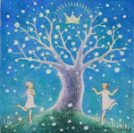 KRISTINA SWARNER - GIRLS DANCING UNDER TREE - MIXED MEDIA ON PAPER - 6 X 6