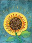 KRISTINA SWARNER - SUN AND SUNFLOWER - MIXED MEDIA ON PAPER - 4 X 5.25