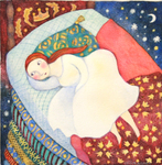 KRISTINA SWARNER - THE PRINCESS & THE PEA - MIXED MEDIA ON PAPER - 8 X 8